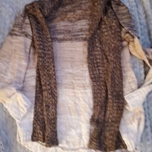 Jason maxwell cardigan sweater brown and cream